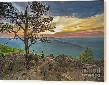 Sunset View At Ravens Roost Wood Print