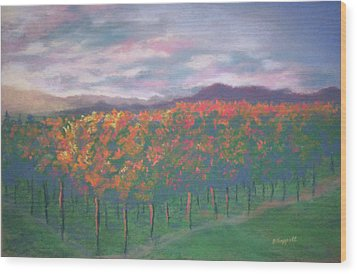Sunset Vineyard Wood Print by Becky Chappell