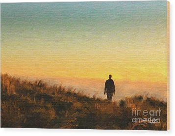 Sunset Walk Wood Print