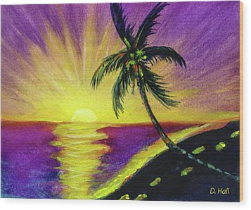 Sunset Water Color Footprints #26 Wood Print by Donald k Hall