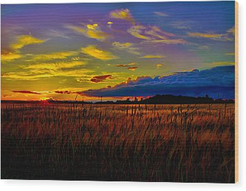 Wood Print featuring the photograph Sunset Wheat by Gary Smith