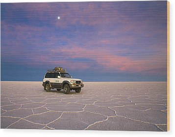 Lake Uyuni Sunset With Car Wood Print