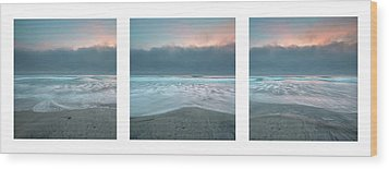 Wood Print featuring the photograph Sunset With Marine Layer Triptych by Alexander Kunz