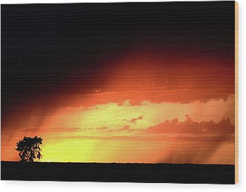 Sunset With Rain In Scenic Saskatchewan Wood Print by Mark Duffy