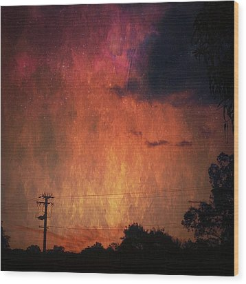 Sunset With Telegraph Pole Wood Print by AlyZen Moonshadow