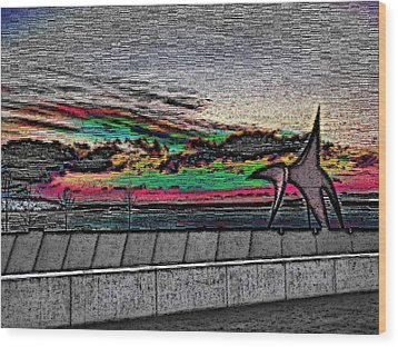 Sunset With The Eagle Wood Print by Tim Allen