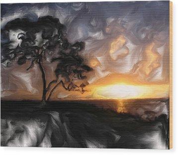 Sunset With Tree Wood Print by Mark Denham