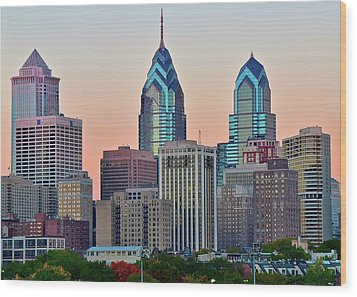 Wood Print featuring the photograph Sunsets Glow In Philly by Frozen in Time Fine Art Photography