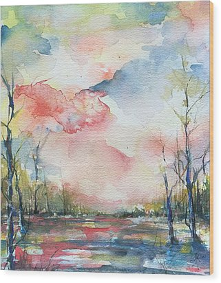 Sunsets Grace On The River Wood Print by Robin Miller-Bookhout