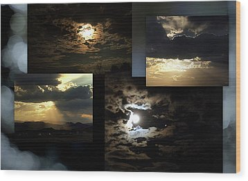 Wood Print featuring the photograph Sunsets Moons Rise by Irma BACKELANT GALLERIES