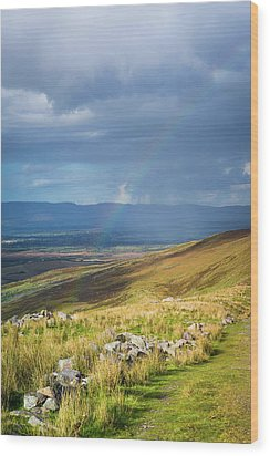 Sunshine And Raining Down With Rainbow On The Countryside In Ire Wood Print by Semmick Photo