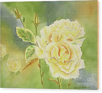 Sunshine And Yellow Roses Wood Print by Kathryn Duncan