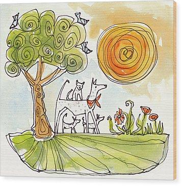 Sunshine Dogs Wood Print by Linda Kay Thomas