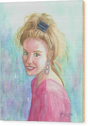 Wood Print featuring the painting Sunshine Girl by Jeanne Kay Juhos
