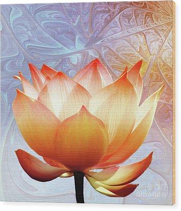 Sunshine Lotus Wood Print
