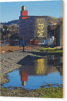 Sunshine Mill Reflection Wood Print