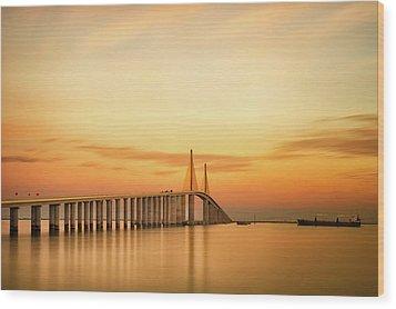 Sunshine Skyway Bridge Wood Print by G Vargas