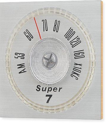 Wood Print featuring the photograph Super 7 Portable Radio Dial by Jim Hughes