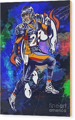 Wood Print featuring the drawing Super Bowl 2016  by Andrzej Szczerski