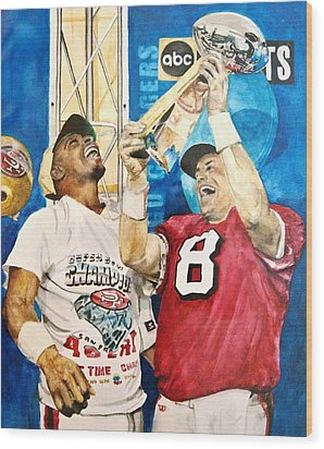 Wood Print featuring the painting Super Bowl Legends by Lance Gebhardt