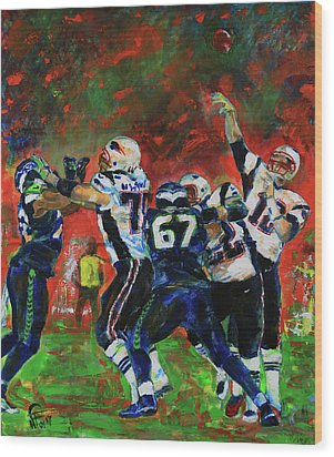 Wood Print featuring the painting Super Bowl 49 by Walter Fahmy