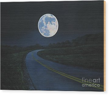 Super Moon At The End Of The Road Wood Print