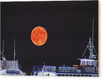 Wood Print featuring the photograph Super Moon Over Crazy Sister Marina by Bill Barber