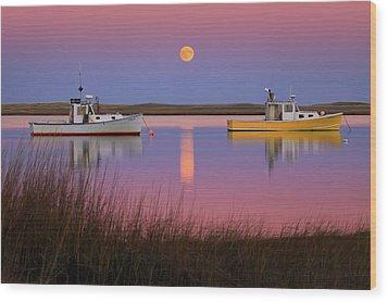 Super Moon Over Nauset Beach Cape Cod National Seashore Wood Print by Dapixara Art