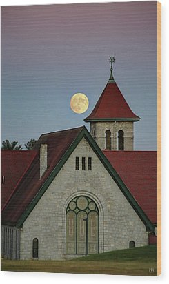 Super Moon Rising Wood Print