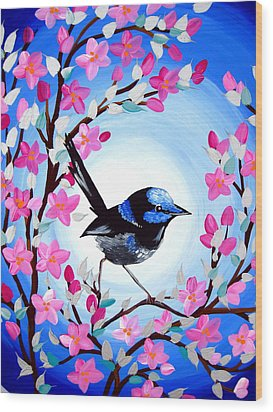 Superb Fairy Wren Wood Print by Cathy Jacobs