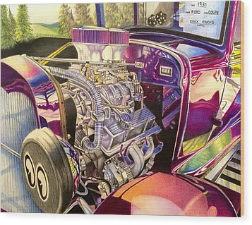 Supercharged Antique 1931 Ford Coupe  Wood Print