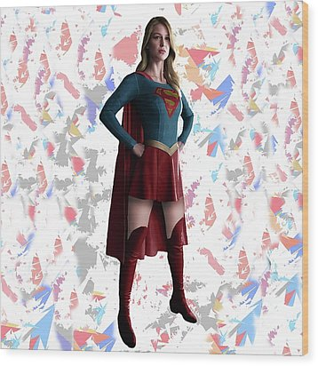 Wood Print featuring the mixed media Supergirl Splash Super Hero Series by Movie Poster Prints