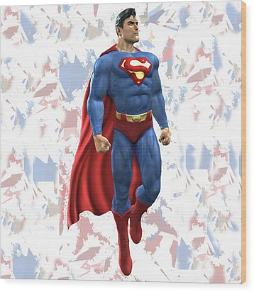 Wood Print featuring the mixed media Superman Splash Super Hero Series by Movie Poster Prints