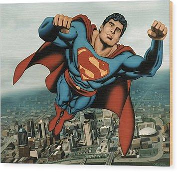 Superman Wood Print by Van Cordle