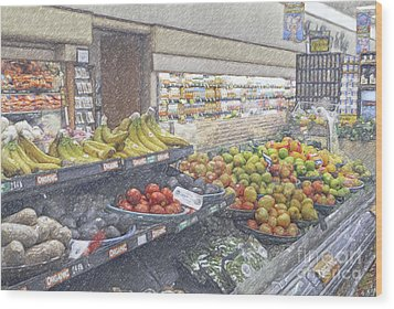 Wood Print featuring the photograph Supermarket Produce Section by David Zanzinger
