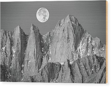 Wood Print featuring the photograph Supermoon And Mount Whitney. by Johnny Adolphson