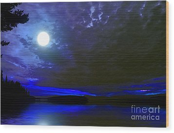 Supermoon Over Lake Wood Print