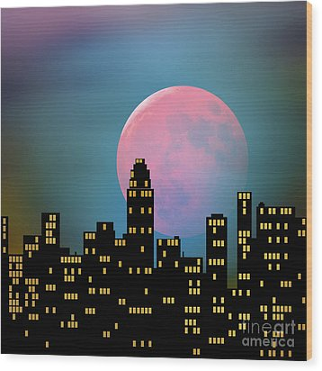 Supermoon Over The City Wood Print