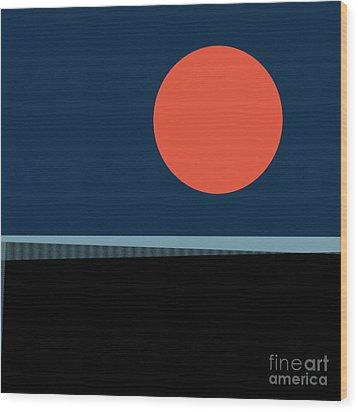 Wood Print featuring the digital art Supermoon Over The Sea by Klara Acel