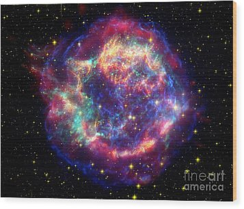 Supernova Remnant Cassiopeia A Wood Print by Stocktrek Images