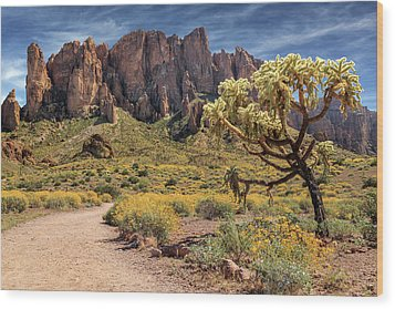 Wood Print featuring the photograph Superstition Mountain Cholla by James Eddy