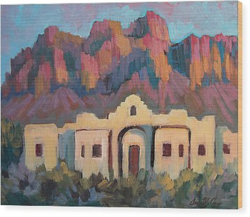 Wood Print featuring the painting Superstition Mountain Evening by Diane McClary