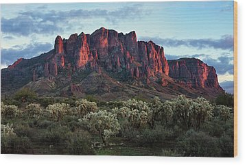 Superstition Mountains Colors Wood Print