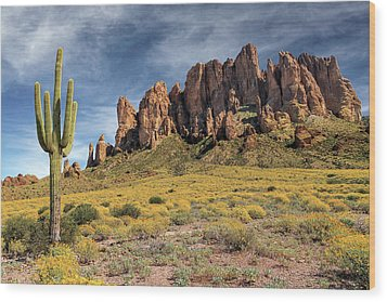 Wood Print featuring the photograph Superstition Mountains Saguaro by James Eddy