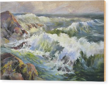Surf Action Wood Print by Rae Andrews