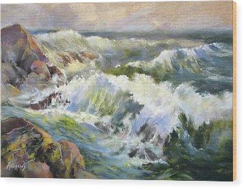 Surf Action Wood Print