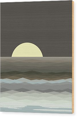 Surf At Moonrise Wood Print