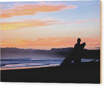 Surf At Sunset Wood Print