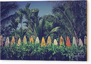 Wood Print featuring the photograph Surf Board Fence Maui Hawaii Vintage by Edward Fielding