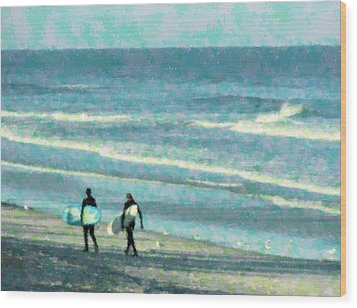 Surf Brothers Wood Print by Cheryl Waugh Whitney